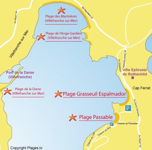 Carte de la plage Grasseuil Espalmador au Cap Ferrat