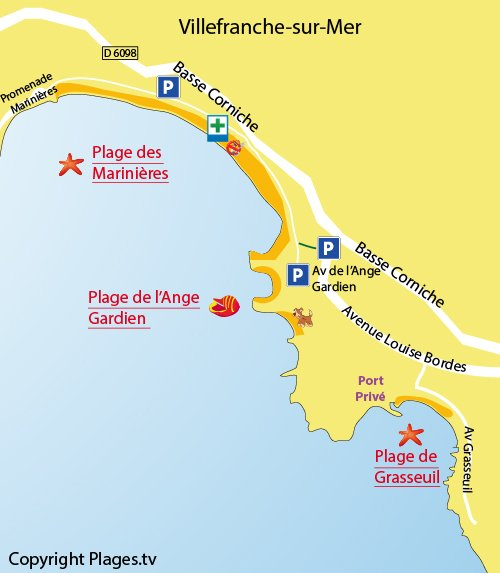 Map of the Grasseuil Beach in Villefranche sur Mer