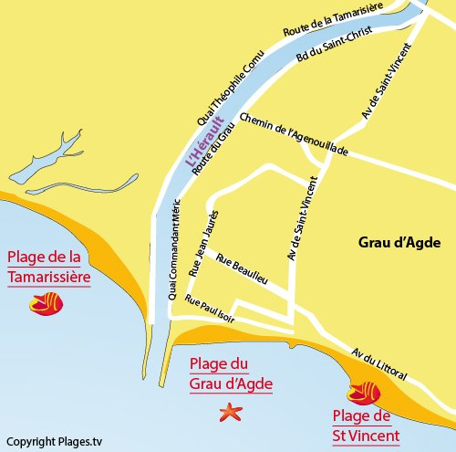 Map of Grau d'Agde beach