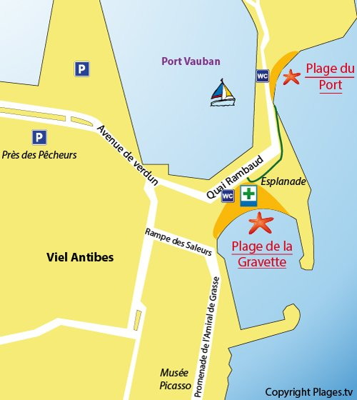 Map of Gravette beach in Antibes