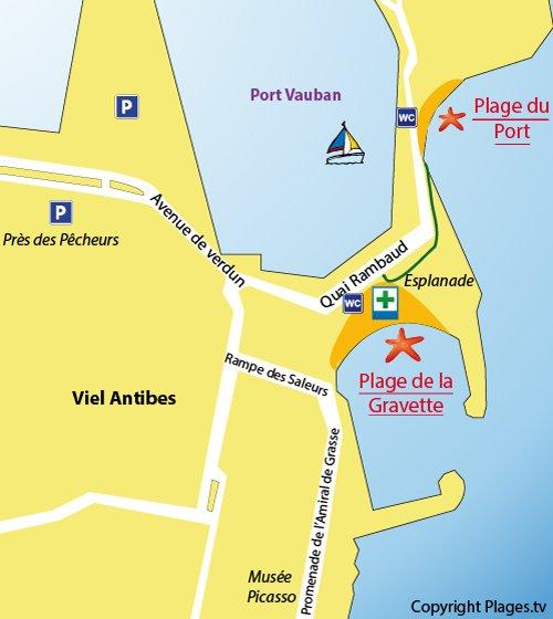 Carte de la plage de la Gravette à Antibes