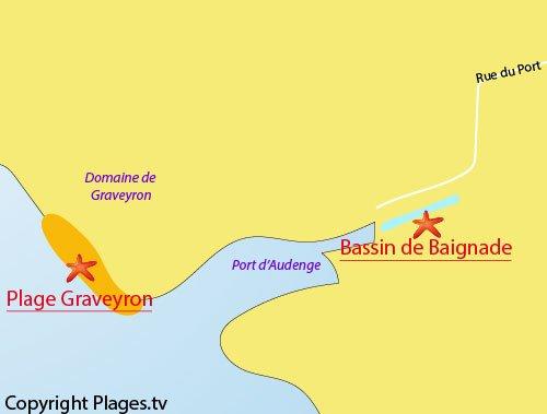 Carte de la plage de Graveyron à Audenge
