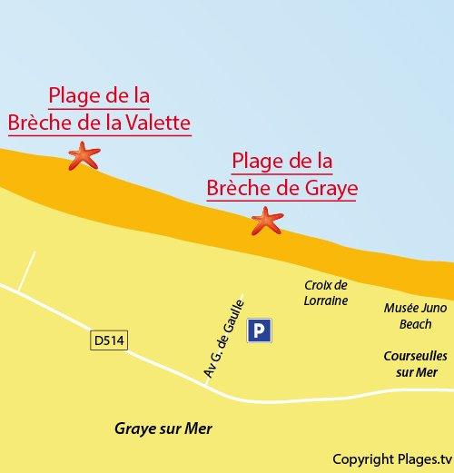 Map of Brèche de Graye Beach in Graye sur Mer