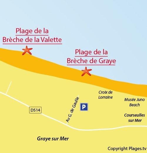 Map of Brèche de Graye Beach in Graye sur Mer