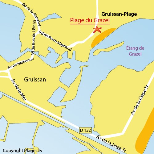 Map of Grazel Beach in Gruissan