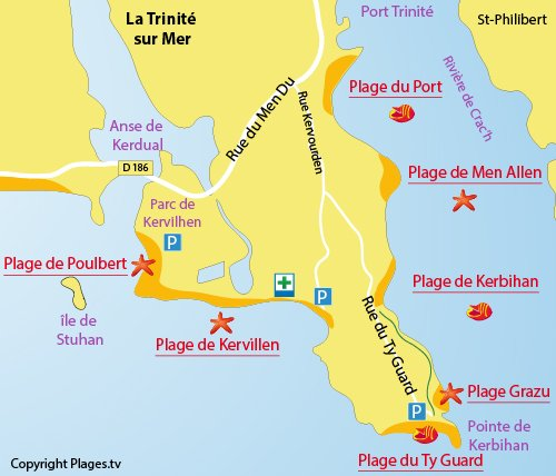 Map of Grazu Beach in La Trinité sur Mer