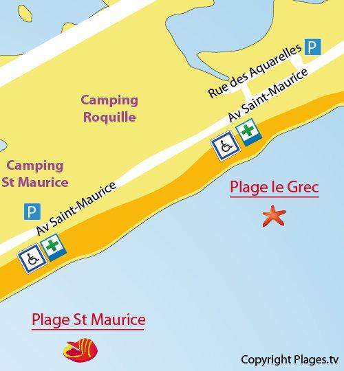 Map of Le Grec Beach in Palavas les Flots