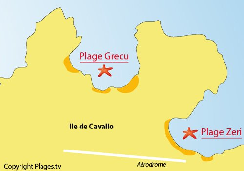 Map of Grecu Beach - Cavallo island - Archipel of Lavezzi