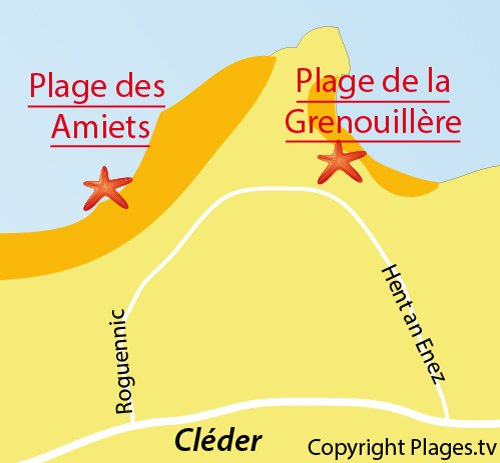 Map of Grenouillère Beach in Cléder