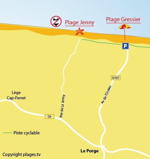 Carte de la plage du Gressier à Le Porge - 33