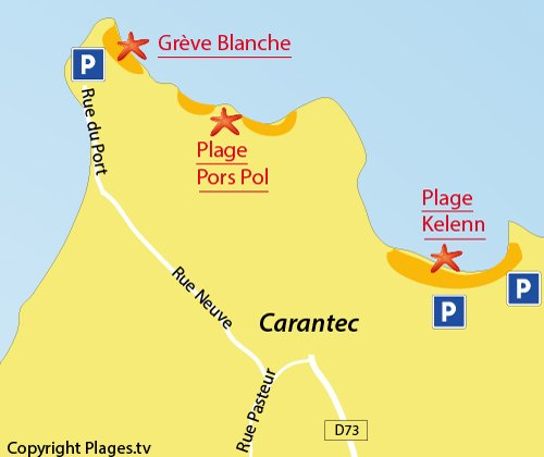 Map of Grève Blanche Beach in Carantec
