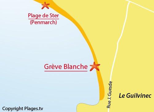 Carte de la Grève Blanche à Guilvinec - Bretagne