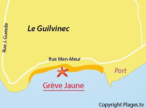 Carte de la plage de la Grève Jaune à Guilvinec