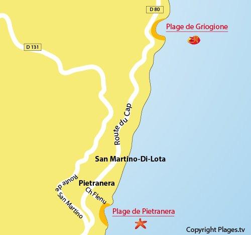 Carte de la plage de Griogione au nord de Bastia