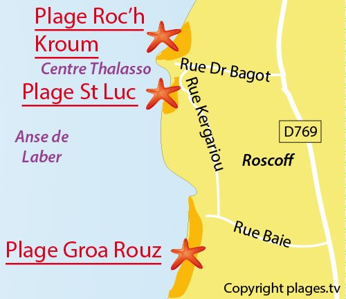 Map of Groa Rouz beach in Roscoff