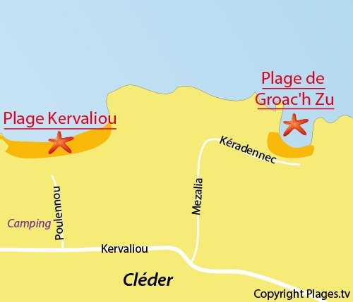 Map of Groac'h Zu Beach in Cléder