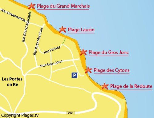 Carte de la plage du Gros Jonc aux Portes en Ré