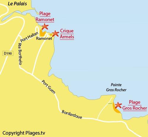 Carte de la plage du Gros Rocher à Belle Ile en Mer - Le Palais