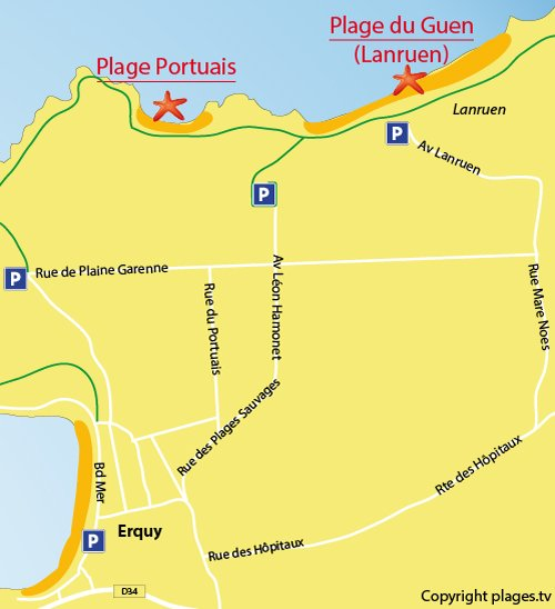 Map of Guen - Lanruen Beach in Erquy