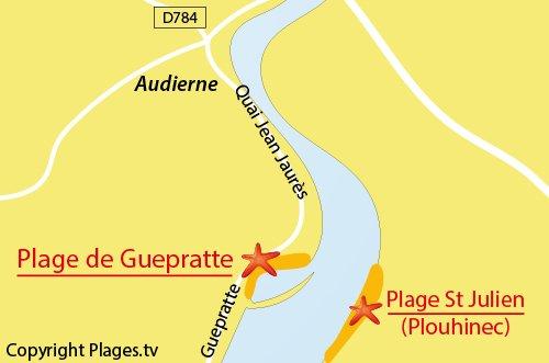 Carte de la plage de Guepratte à Audierne