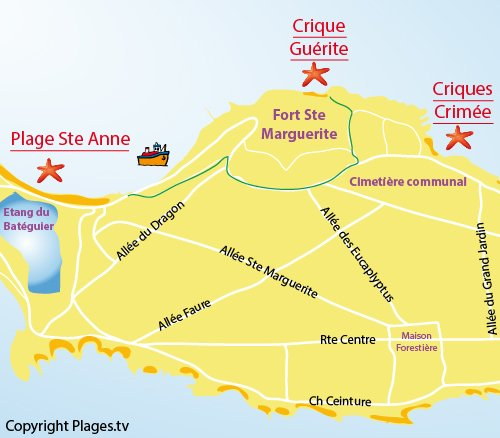 Map of Guérite Cove - Lérins island