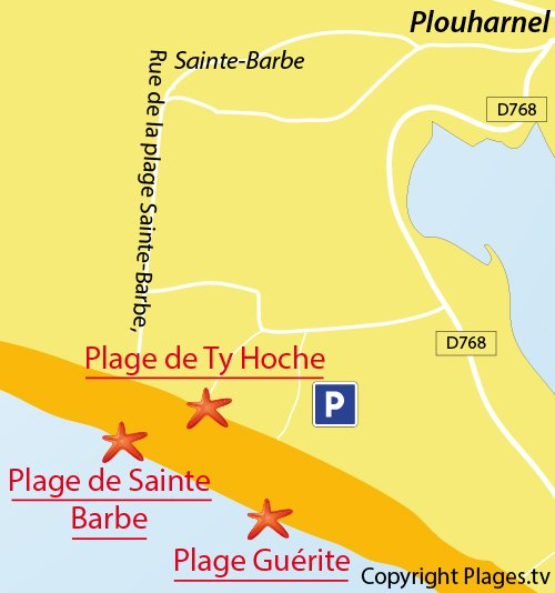 Map of Guérite Beach in Plouharnel