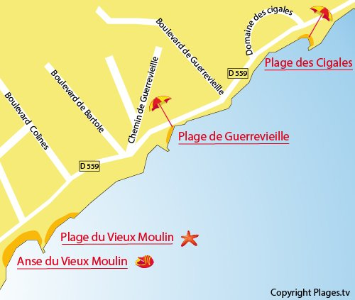 Carte de la plage de Guerrevieille à Grimaud