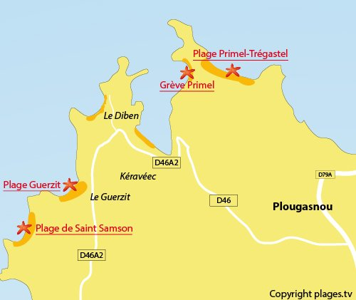 Carte de la plage du Guerzit à Plougasnou