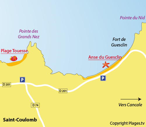 Map of the Guesclin Beach in Saint Coulomb