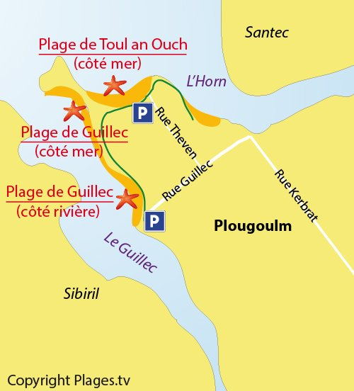 Carte de la plage du Guillec de Plougoulm - Bretagne