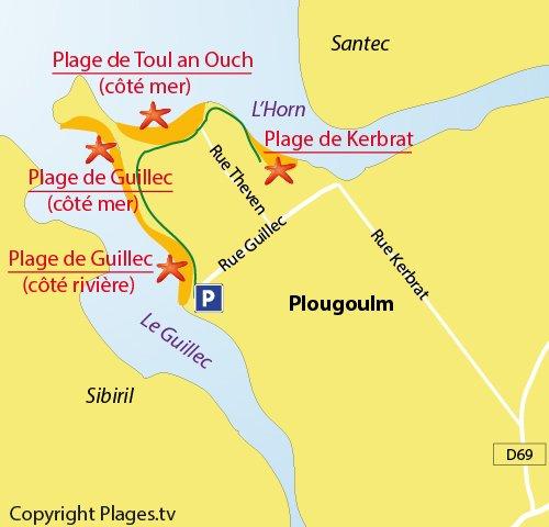 Carte de la plage de Guillec à Plougoulm - zone rivière
