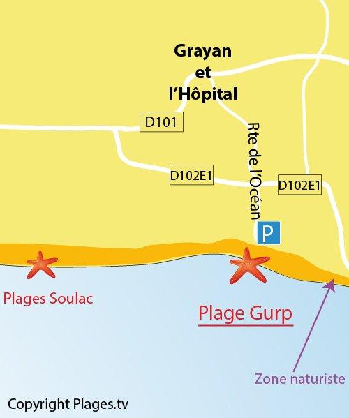 Carte de la plage du Gurp à Grayan l'Hôpital