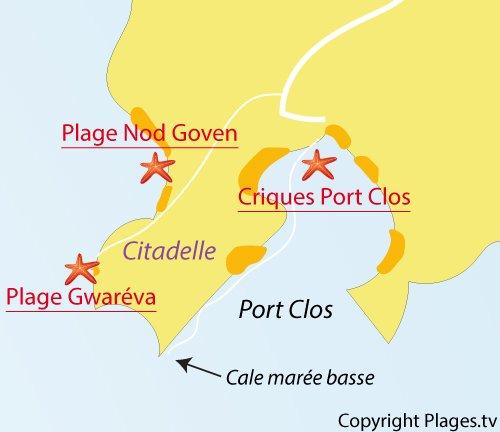 Carte de la plage de Gwaréva sur l'ile de Bréhat