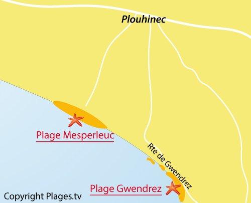 Carte de la plage de Gwendrez à Plouhinec
