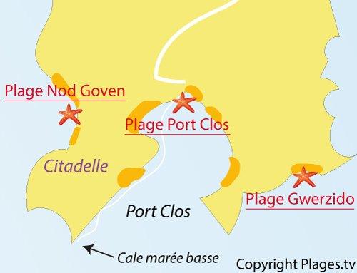 Carte de la plage de Guerzido sur l'ile de Bréhat
