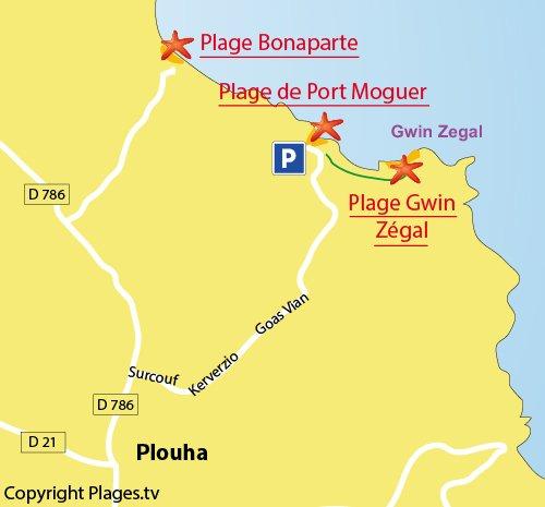 Carte de la plage de Gwin Zegal à Plouha