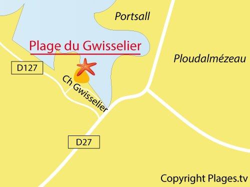 Carte de la plage de Gwisselier à Landunvez - Bretagne