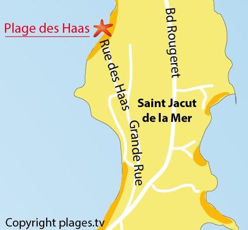 Carte de la plage des Haas à St Jacut de la Mer