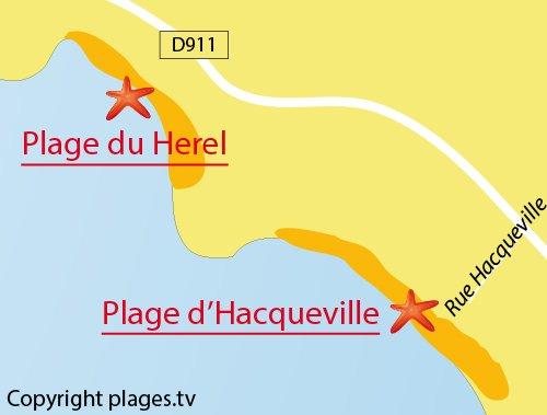 Carte de la plage d'Hacqueville à Granville