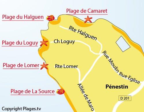 Map of Halguen Beach in Pénestin