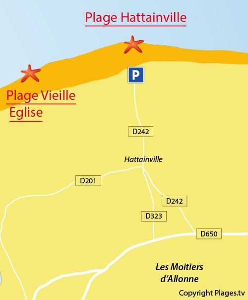 Map of Hattainville Beach in France