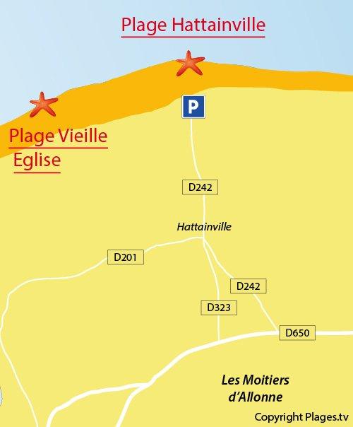 Carte de la plage d'Hattainville