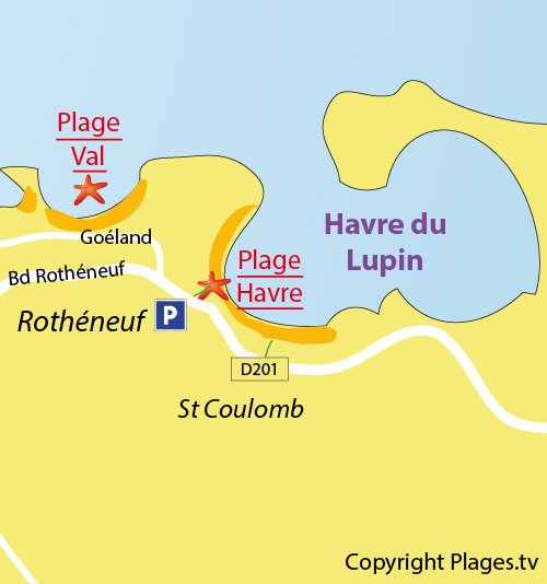 Map of the Havre Beach in Rothéneuf (St Malo)