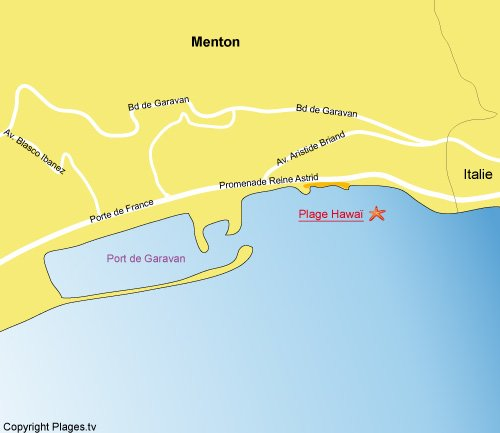 Map of Hawaï beach in Menton - France