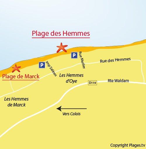Carte de la plage des Hemmes à Oye-Plage