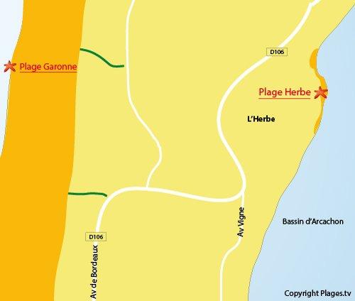 Plan de la plage de l'Herbe du Cap Ferret