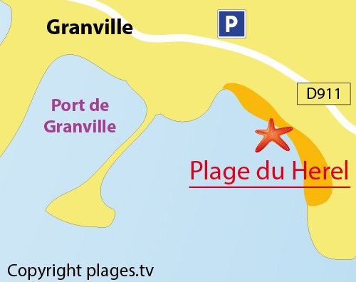 Map of Herel Beach in Granville