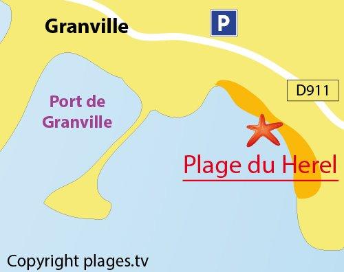 Carte de la plage du Herel à Granville