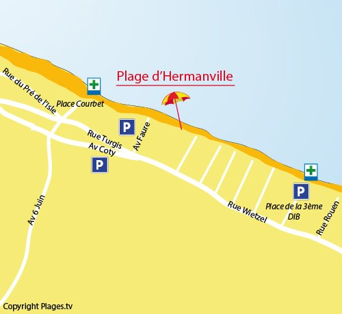 Plan de la plage d'Hermanville 14