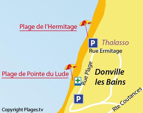 Carte de la plage de l'Ermitage à Donville